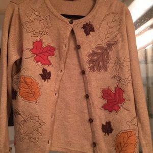 Croft and barrow fall leaves sweater cardigan S